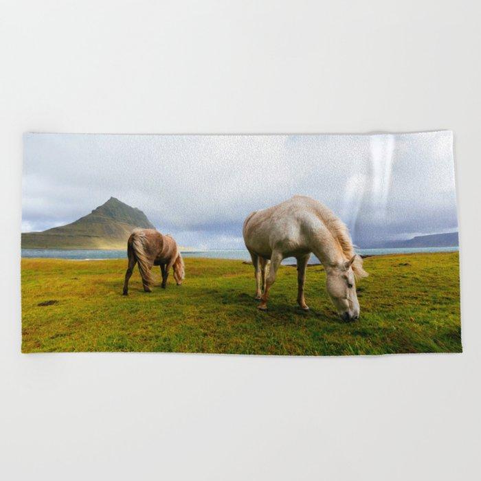 Horses 5 Beach Towel