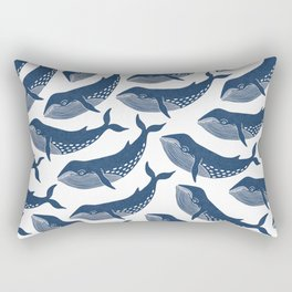 Keep On Swimming - Blue Whales Rectangular Pillow
