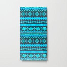 Cyan Aztec Pattern Metal Print