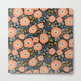Stylized crab-red and gray flowers pattern Metal Print