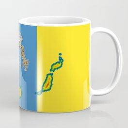 Canary Islands Flag with Map of the Canary Islands Islas Canarias Coffee Mug