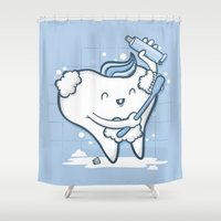 tooth Shower Curtains featuring Tooth Brushing by Robo Rat