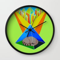 racoon Wall Clocks featuring Crystal Racoon by Cariann Dominguez