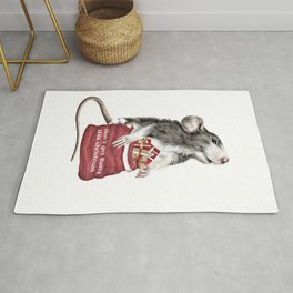 Funny Cute Festive Christmas rat Rug