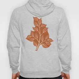 Delicate White Leaves and Branch on a Rust Orange Background Hoody