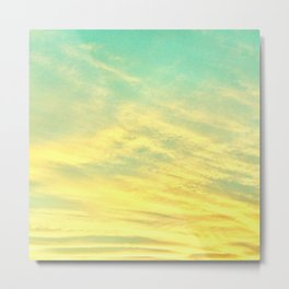 Green Yellow Sunset Metal Print