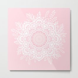 Mandala Bohemian Summer Blush Millennial Pink Floral illustration Metal Print