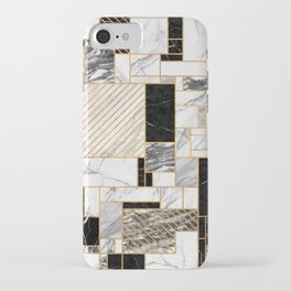 Random Pattern - Black and White Marble iPhone Case