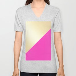 Modern hot pink & gold color block Unisex V-Neck