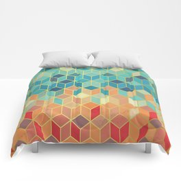 Colorful Squares with Gold - Friendly Colors and Marble Texture Comforters