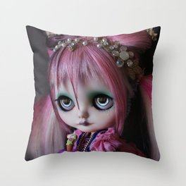 LITTLE OCTOPUS CUSTOM BLYTHE ART DOLL PINK NAVY Throw Pillow
