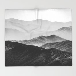 Glimpse - Black and White Mountains Landscape Nature Photography Throw Blanket