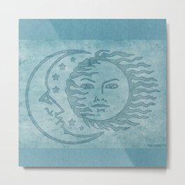 Sun Moon And Stars Batik Metal Print