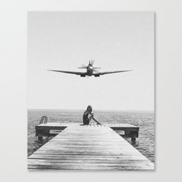 Steady As She Goes; aircraft coming in for an island landing black and white photography- photographs Canvas Print