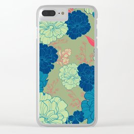 Green Blue Anemone Clear iPhone Case