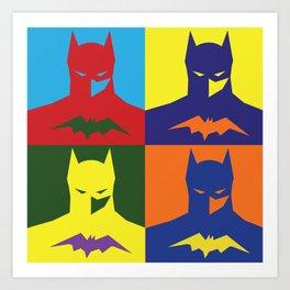 BAT MAN popart bright silhouette Art Print