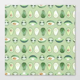 Avocados and aliens pattern Canvas Print