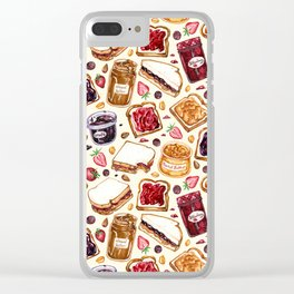 Peanut Butter and Jelly Watercolor Clear iPhone Case