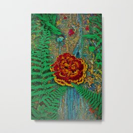 Mushroom & Fern on Oak Tree Metal Print