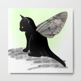 Black Kitten Fairy Metal Print