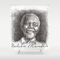 mandela Shower Curtains featuring Nelson Mandela by Yonk