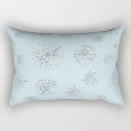 Assorted Silver Snowflakes On Light Blue Background Rectangular Pillow