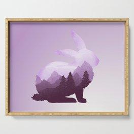 Rabbit Bunny Hare Double Exposure Surreal Wildlife Animal Serving Tray