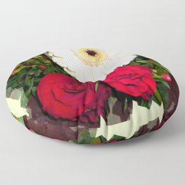 Red Roses and Gerberas Floor Pillow