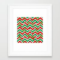 cartoons Framed Art Prints featuring Festive Christmas Cartoons on Chevron Pattern by Kirsten Star