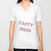 talking heads V-neck T-shirts featuring Talking Heads - No Party, No Disco by Taylor Starnes