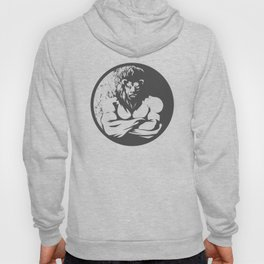 A lion man  fighter black and white Hoody