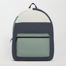 Navy Gray Blue Green and Cream Minimalist Color Block Backpack