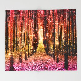 Magical Forest Sunset Pink Throw Blanket