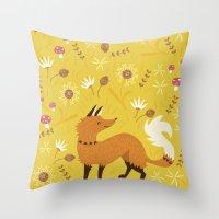 Throw Pillows featuring Cute as a Fox by Poppy & Red