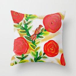 winter bird holiday floral garden Throw Pillow