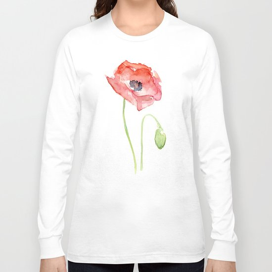 Red Poppy Watercolor Flower Floral Abstract Long Sleeve T-shirt