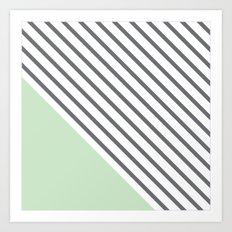 Diagonal Block - Mint Art Print