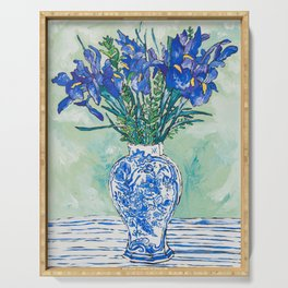 Iris Bouquet in Chinoiserie Vase on Blue and White Striped Tablecloth on Painterly Mint Green Serving Tray