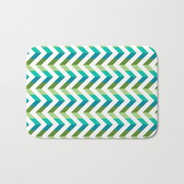 Chevron Picnic Time - Geometric pattern with blue and green Bath Mat