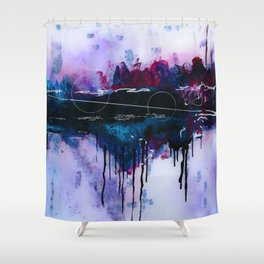 Dawn, pink and fushia black and blue acrylic abstract artwork Shower Curtain