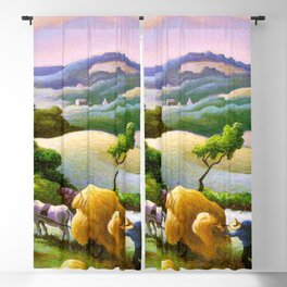 Classical Masterpiece 'Chilmark Hay' by Thomas Hart Benton Blackout Curtain