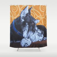 schnauzer Shower Curtains featuring Remmington Schnauzer by Ashley Corbello