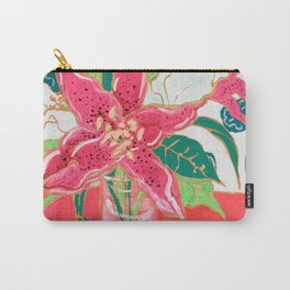 Pink and White Lily Bouquet with Matisse Wallpaper Carry-All Pouch
