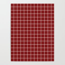 OU Crimson red - red color - White Lines Grid Pattern Poster