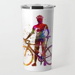 Woman triathlon cycling 02 Travel Mug