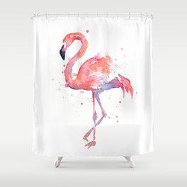 Flamingo Watercolor Shower Curtain