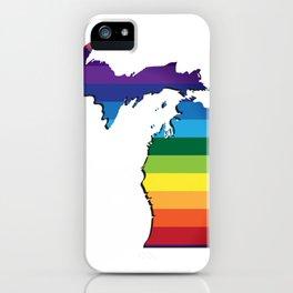 Michigan LGBT Rainbow Flag Gay Pride iPhone Case