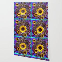 CONTEMPORARY  YELLOW SUNFLOWER CLOCK PURPLE ARTWORKS Wallpaper