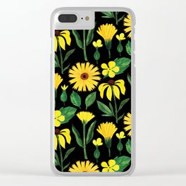Sunshine yellow watercolor hand painted floral daisies Clear iPhone Case