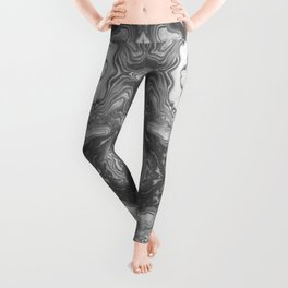 Katsuro - spilled ink marble paper map topography painting black and white minimal ocean swirl  Leggings